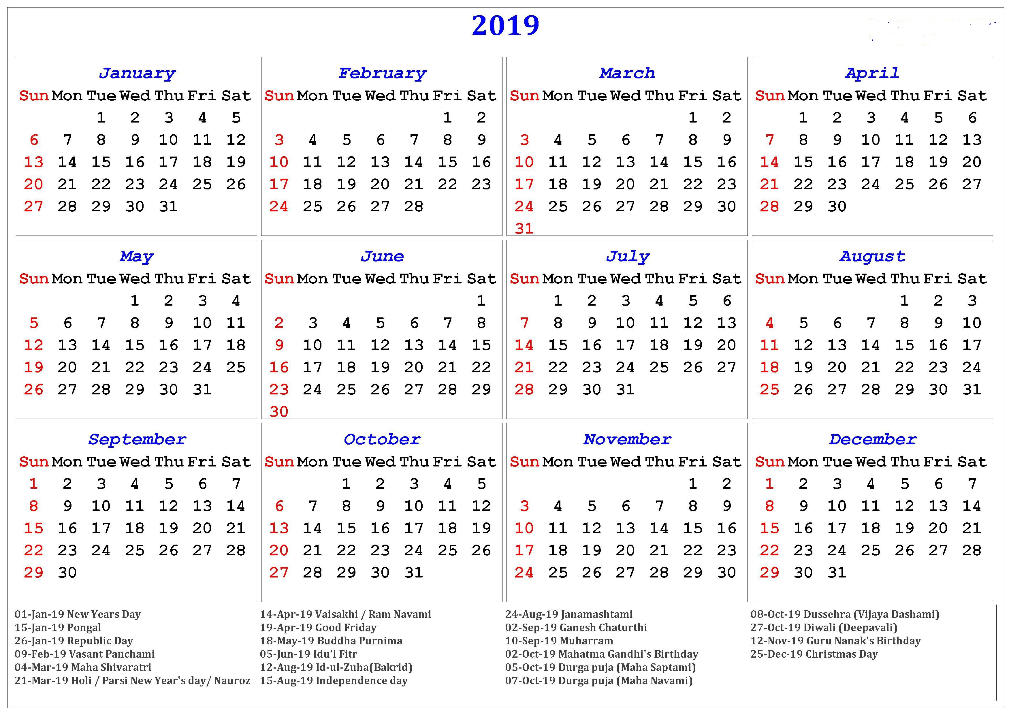 Year 2019 Calendar With Holidays Yearly Printable Templates Download