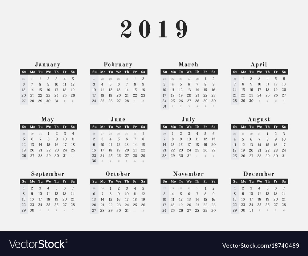 Year 2019 Calendar With Horizontal Design Vector Image On VectorStock