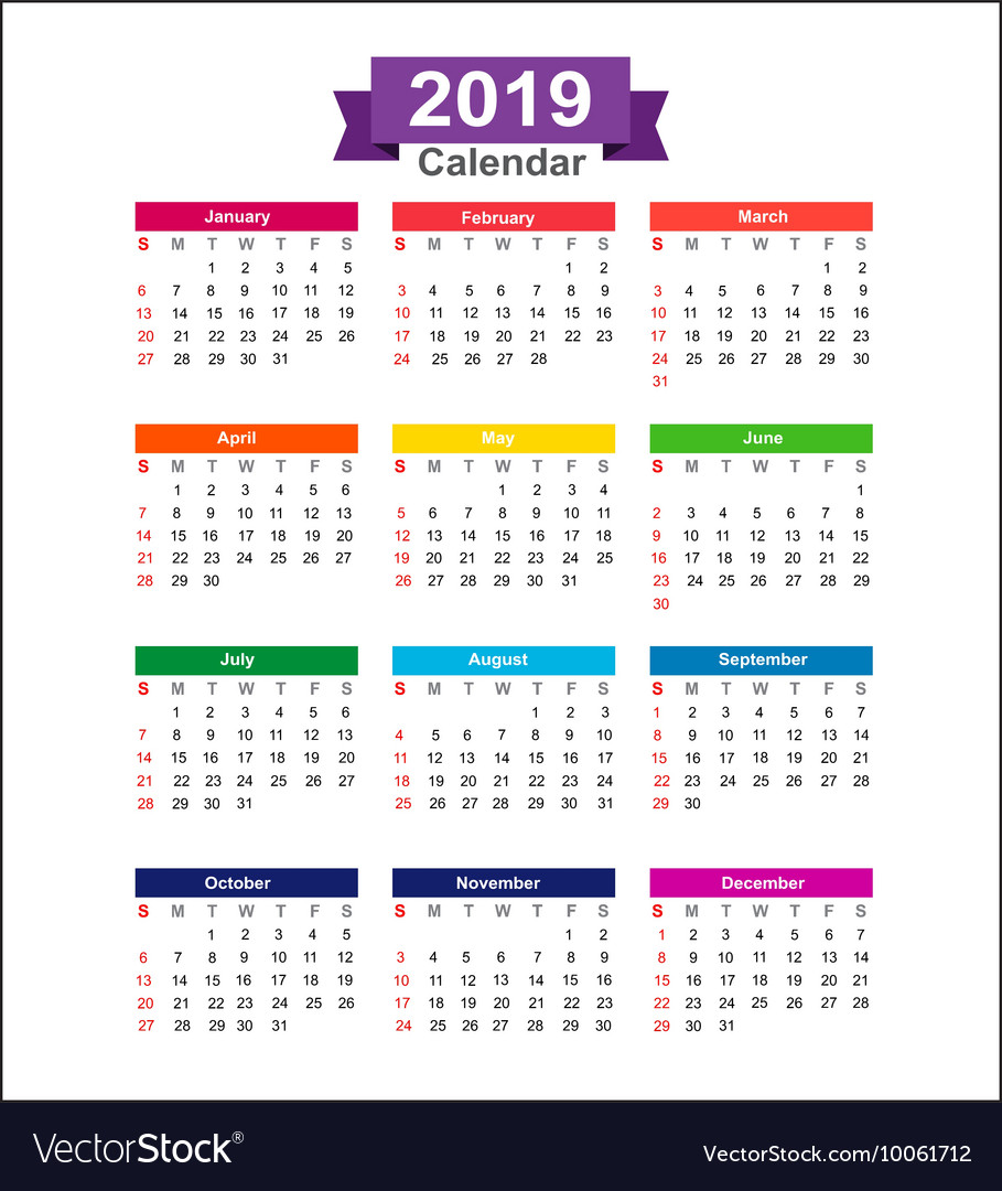Year 2019 Calendar With Isolated On White Background Vector Image VectorStock