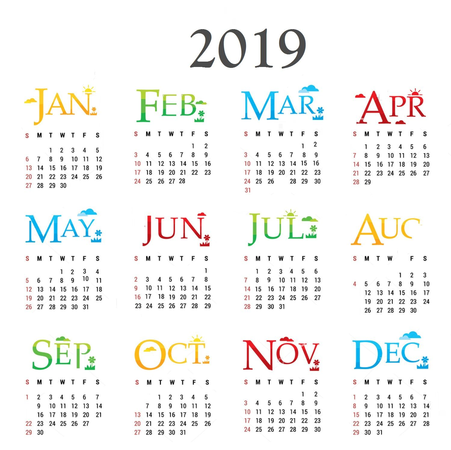 Year 2019 Calendar With New Pinterest