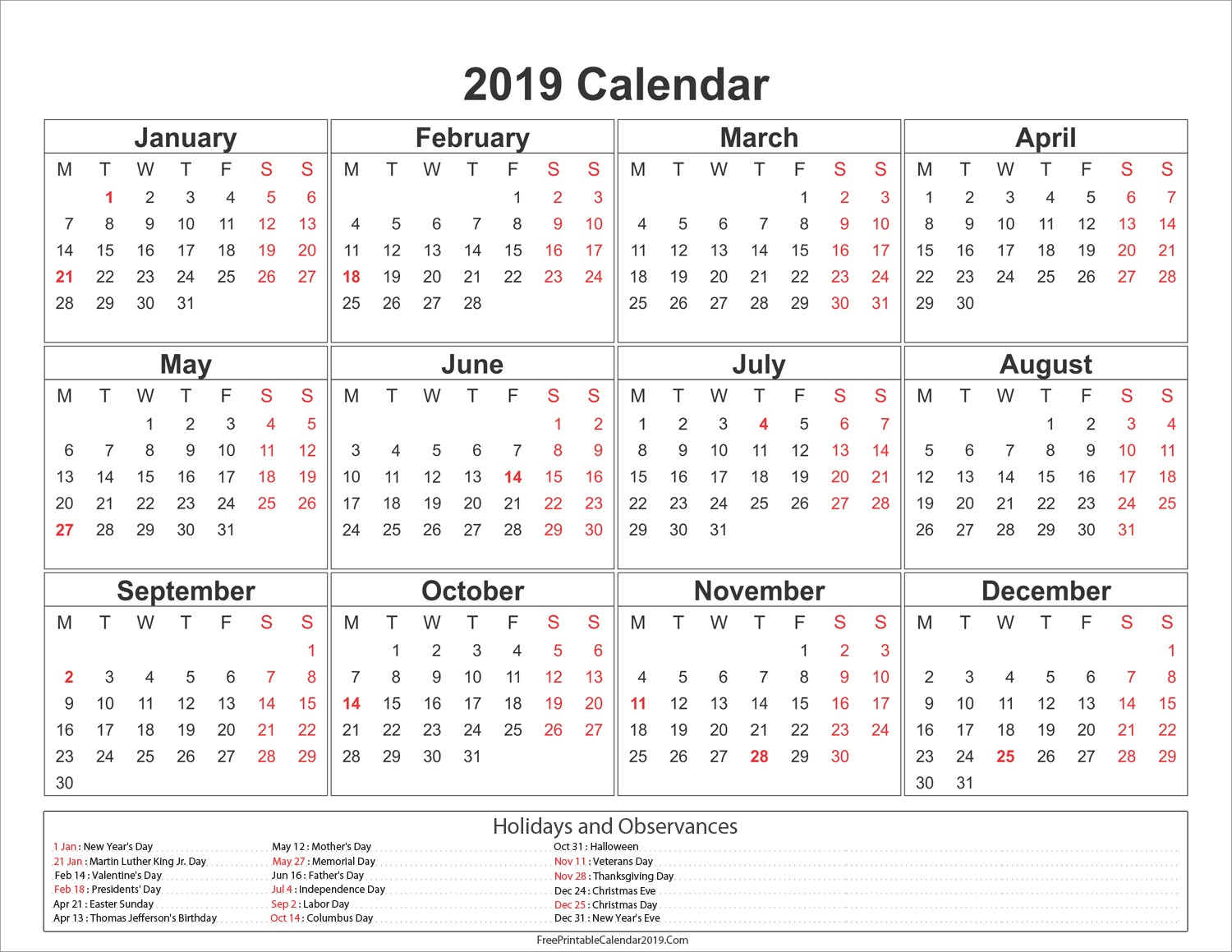 Year 2019 Calendar With Printable Free