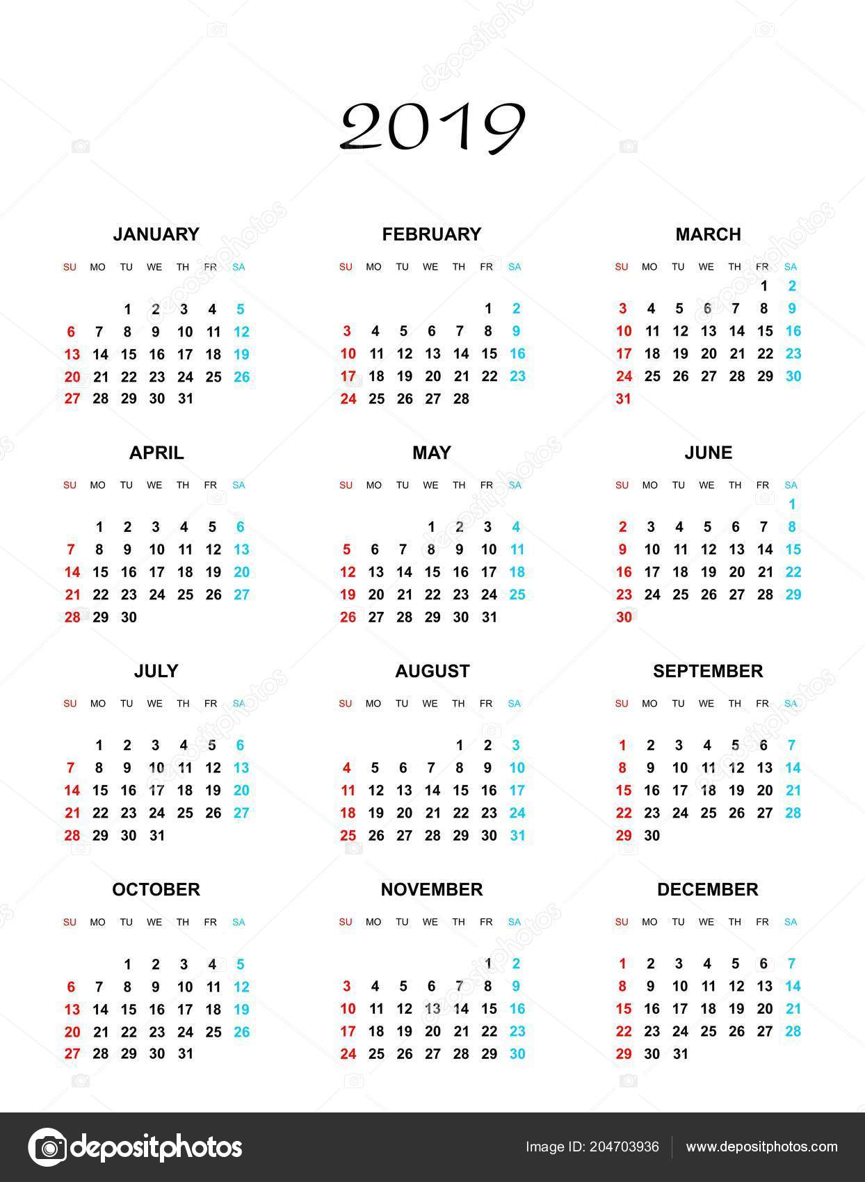 Year 2019 Calendar With Simple Color Names Days Months Row Sunday Stock