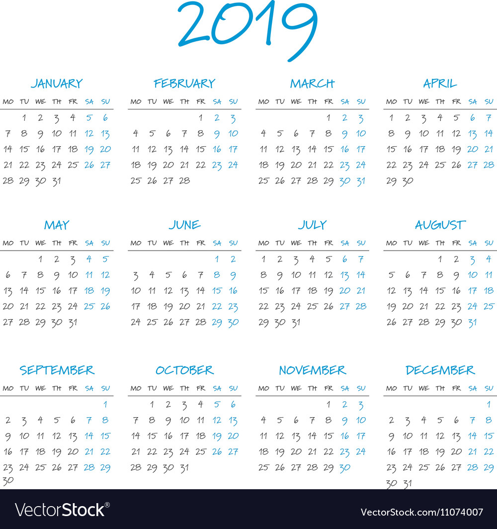 Year 2019 Calendar With Simple Vector Image On VectorStock