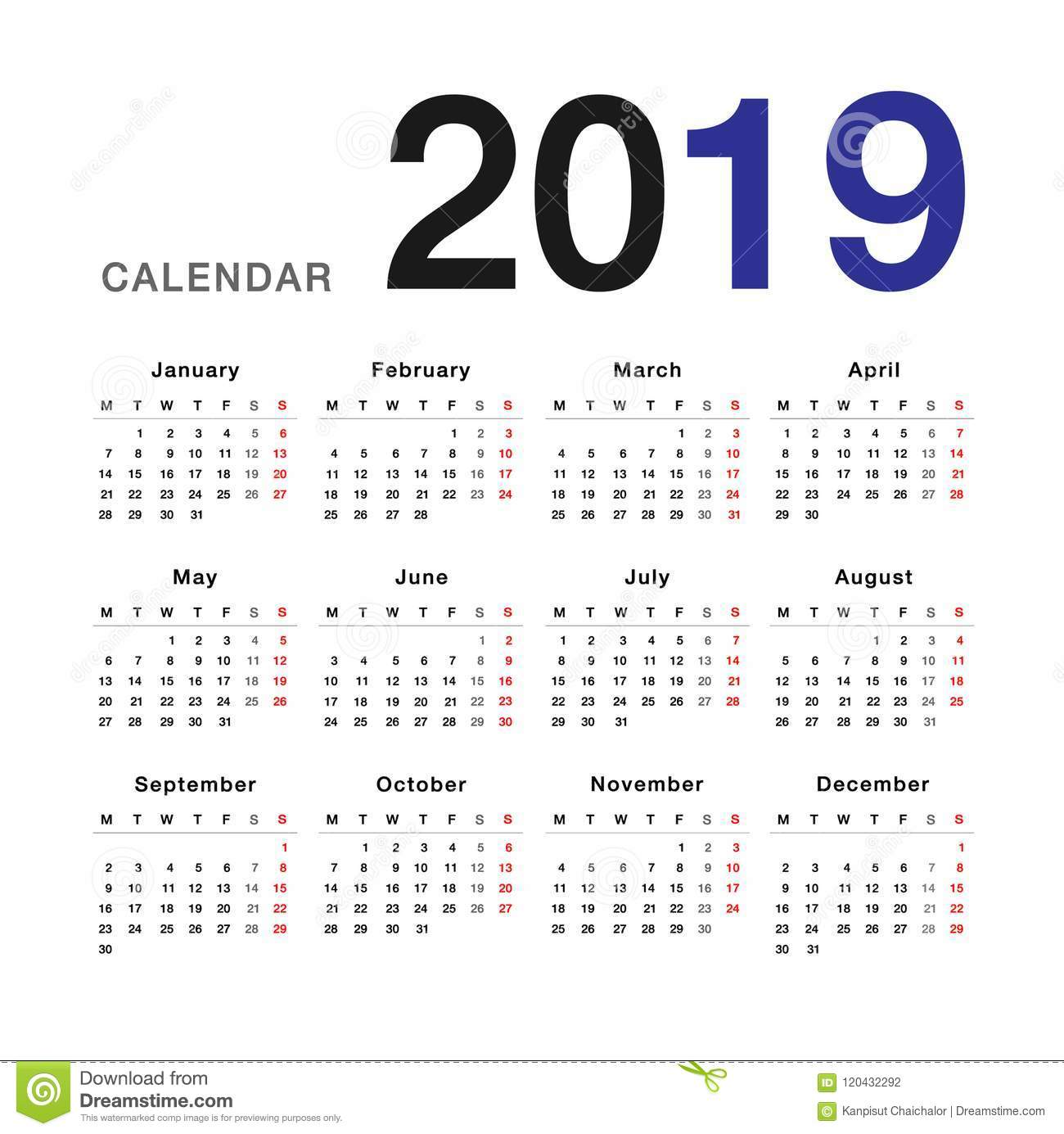 Year 2019 Calendar With Vector Design Template Simple And Clean
