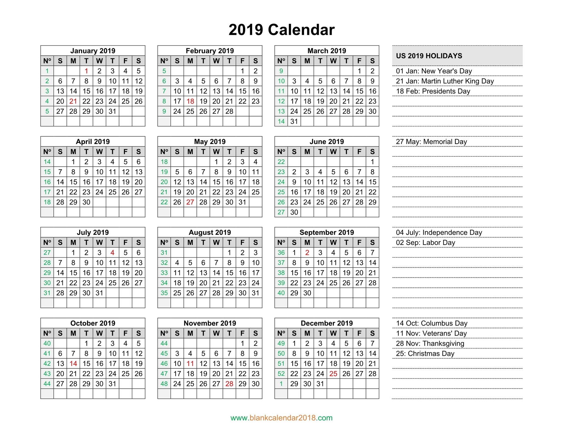 Year 2019 Holidays Calendar With Blank