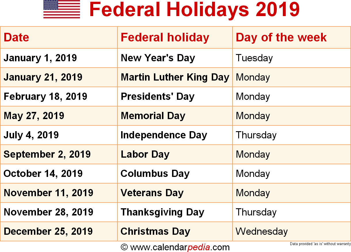 Year 2019 Holidays Calendar With Federal