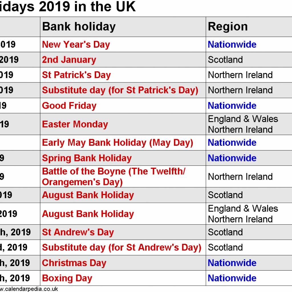 Year 2019 Holidays Calendar With Free Printable Yearly Public UK