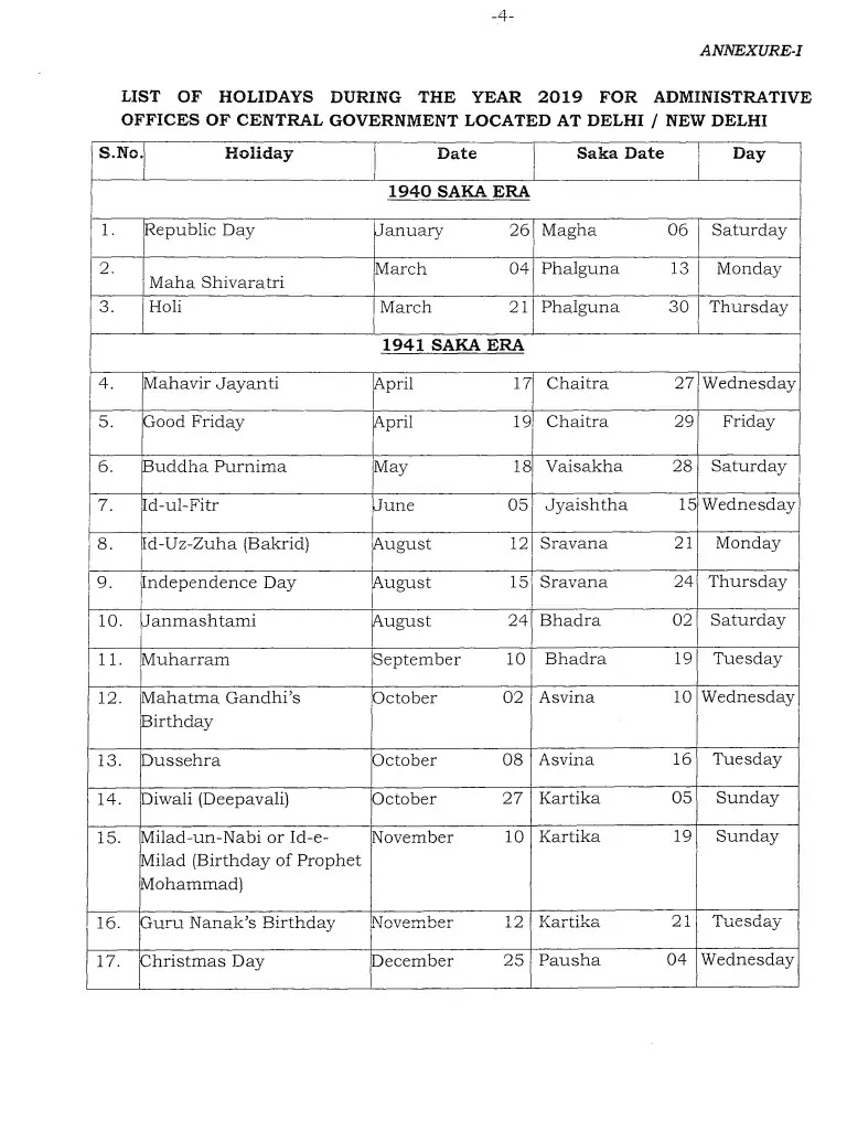 Year 2019 Holidays Calendar With List Of Gazetted Leave Central Government