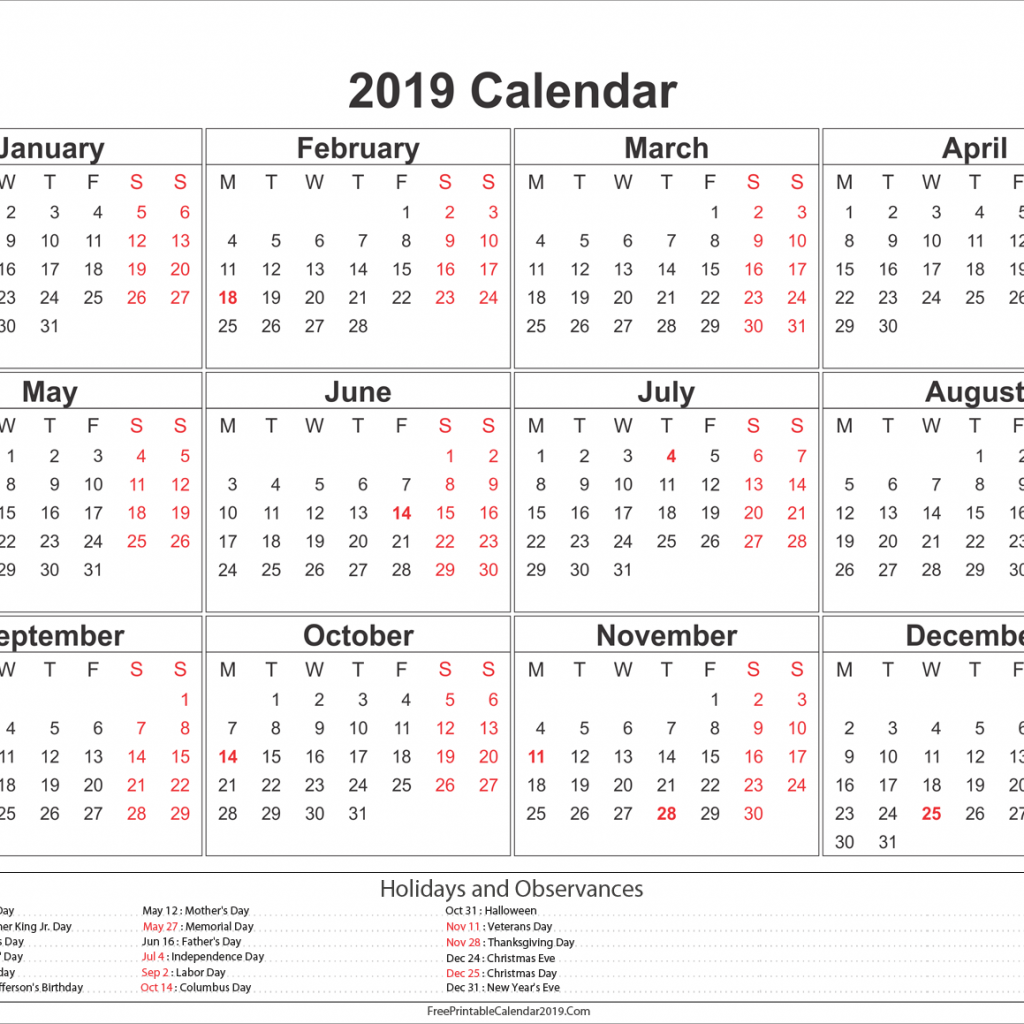 Year 2019 Holidays Calendar With US UK Australia Canada 2018