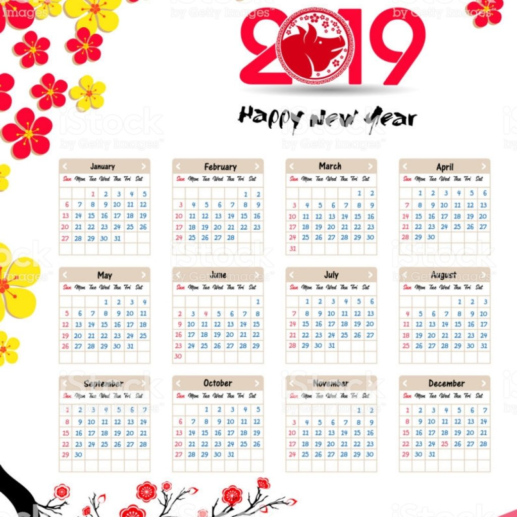 Year 2019 Lunar Calendar With Chinese For Happy New Of The