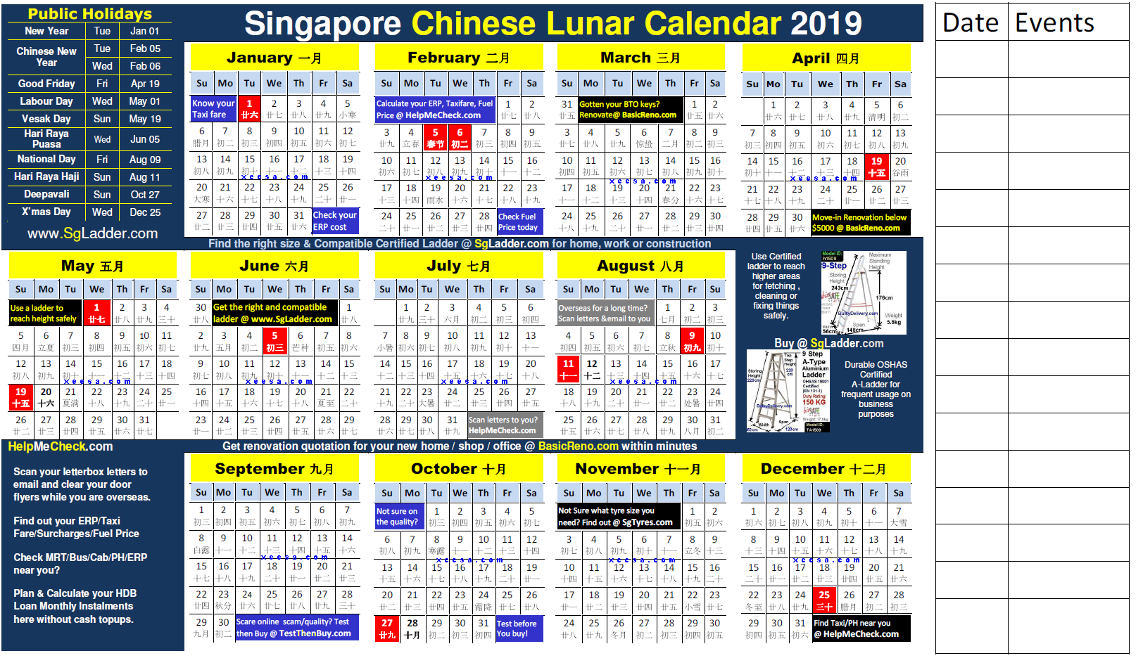 Year 2019 Lunar Calendar With Chinese Free For Singapore