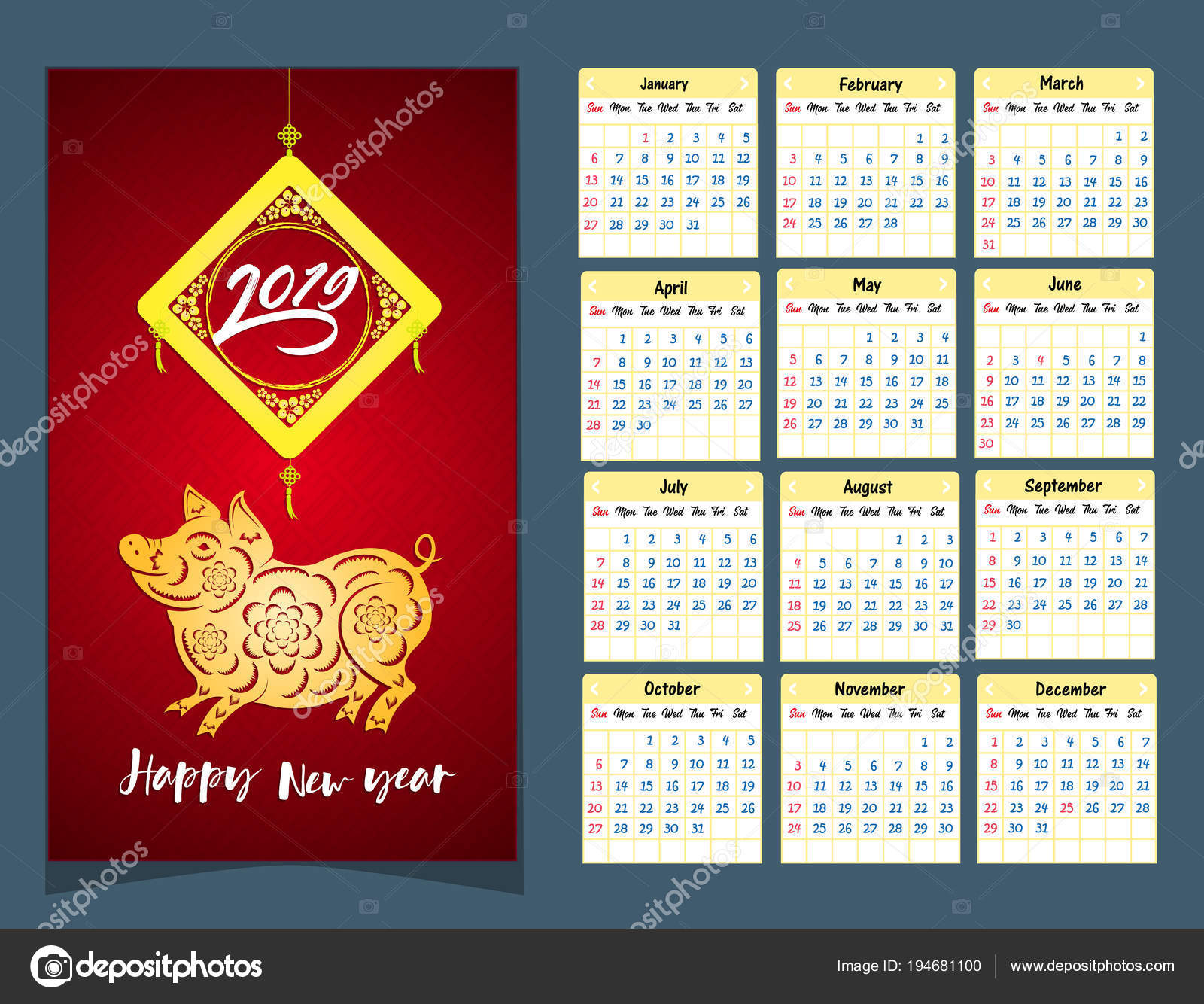 Year 2019 Lunar Calendar With Chinese Happy New Pig Stock