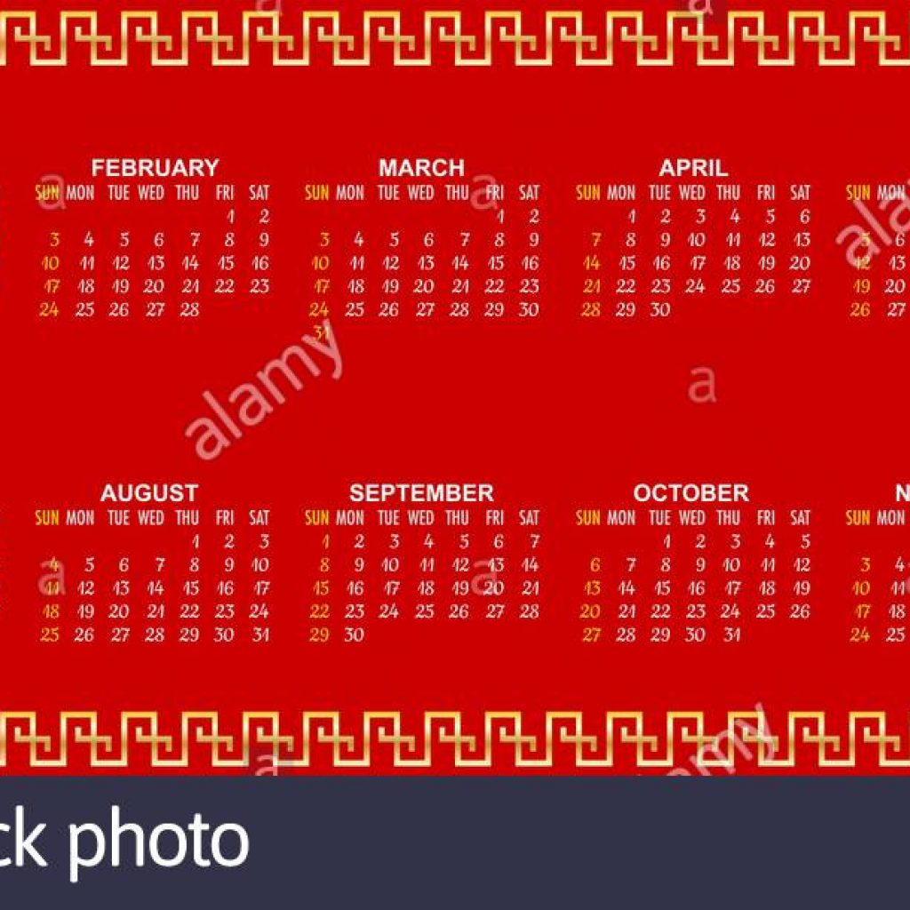 Year 2019 Lunar Calendar With Chinese New Stock Vector Art Illustration