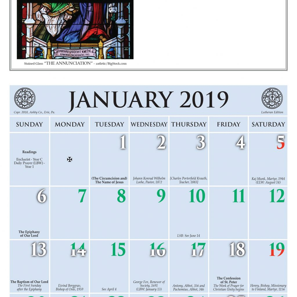 Year C 2019 Church Calendar With