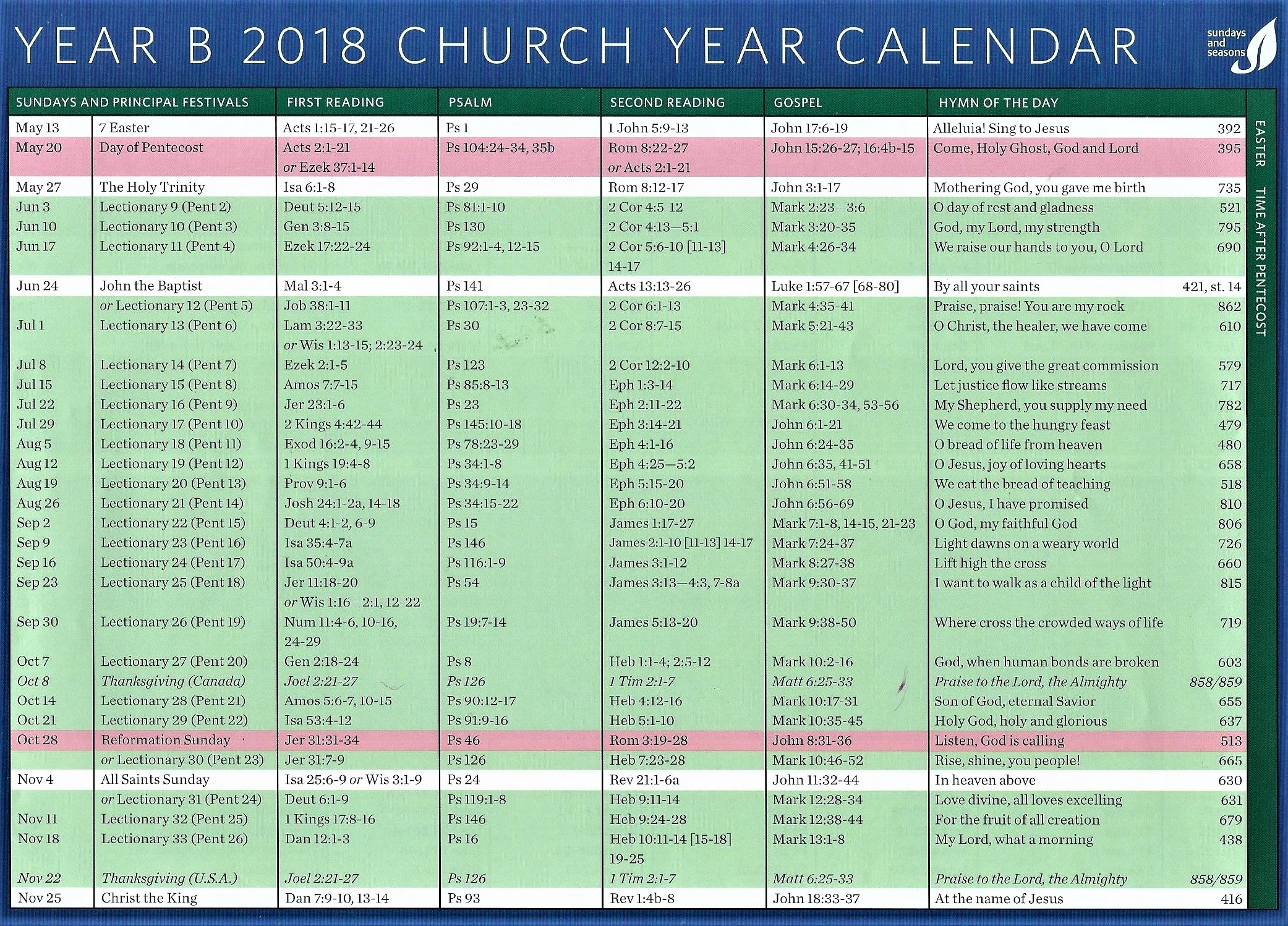 Year C 2019 Church Calendar With 2018 MAY NOV St Paul S Evangelical Lutheran