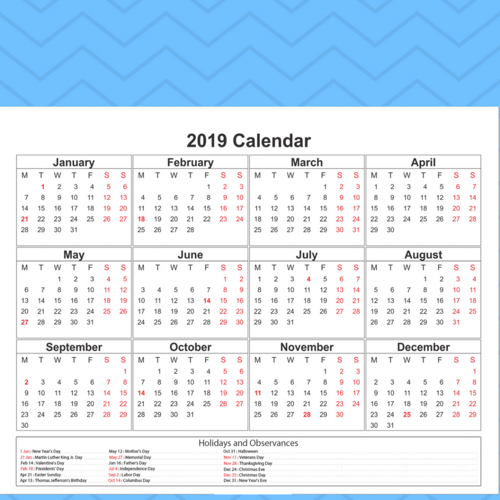 Year C 2019 Church Calendar With Free Blank Printable Catholic Template Download
