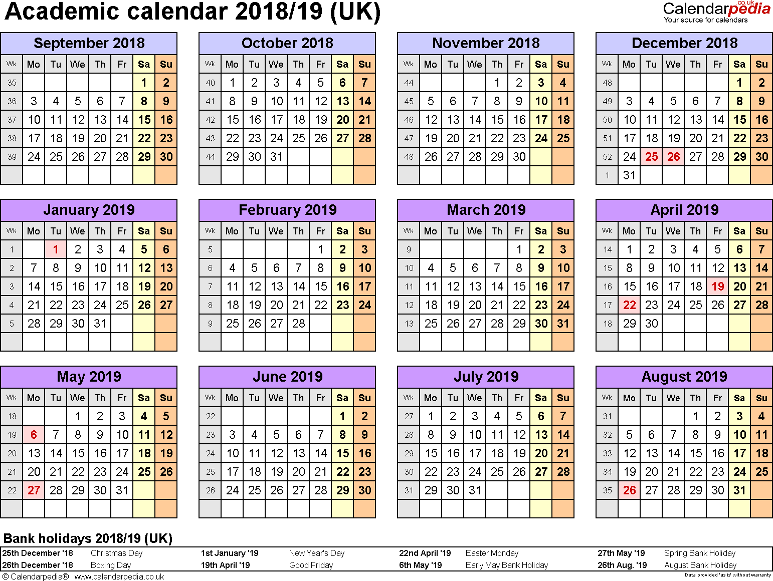 Year Calendar 2018 And 2019 With Academic Calendars As Free Printable Word Templates
