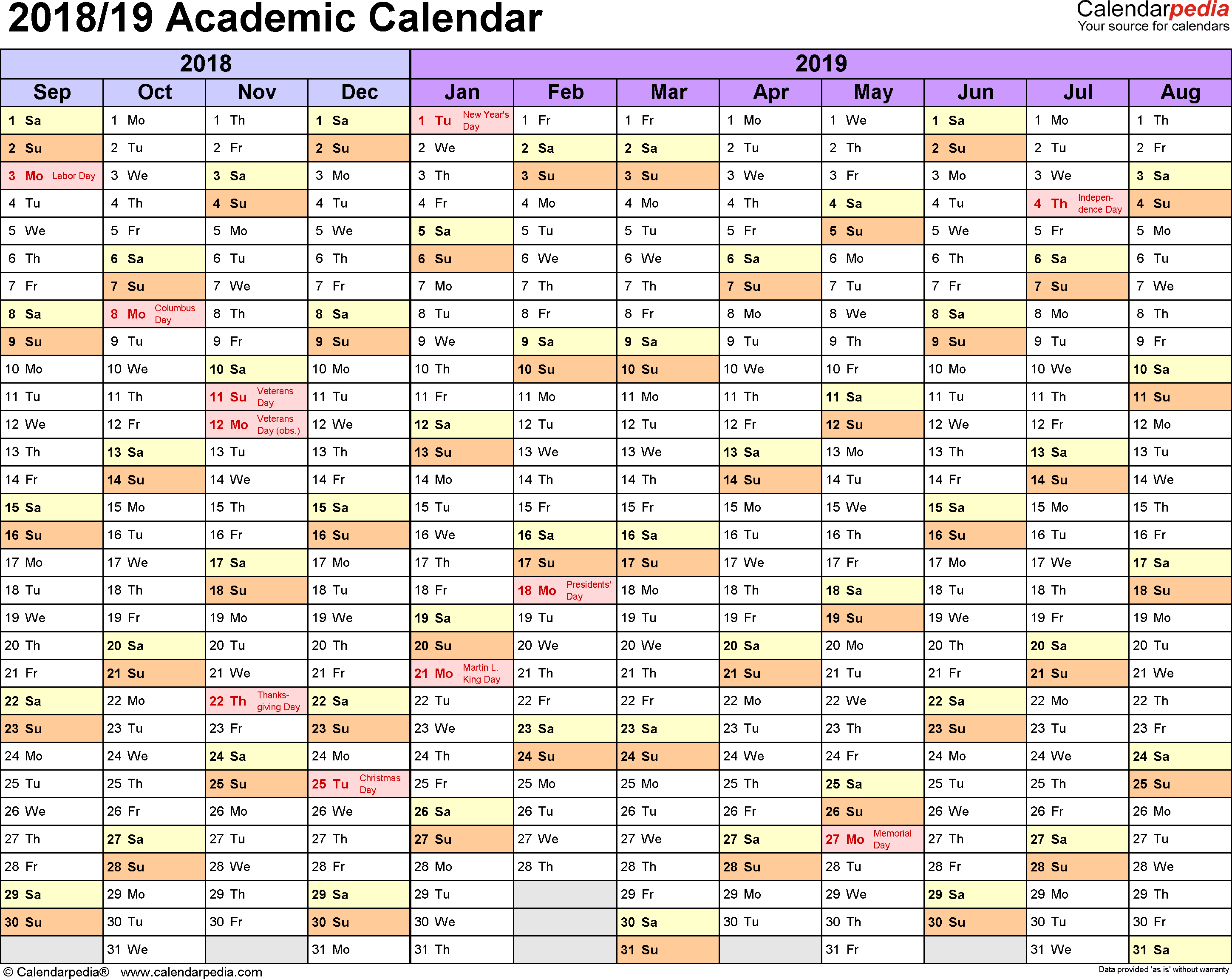Year Calendar 2018 And 2019 With Academic Calendars Free Printable Excel Templates