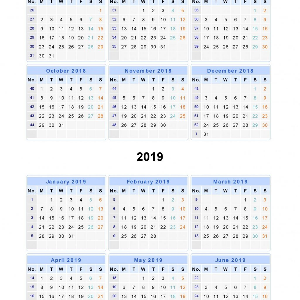 Year Calendar 2018 And 2019 With Free Printable Templates