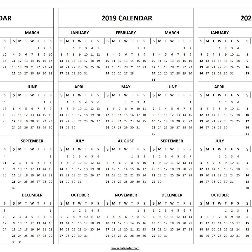 Year Calendar 2018 And 2019 With Print Blank 2020 Template Organize Pinterest