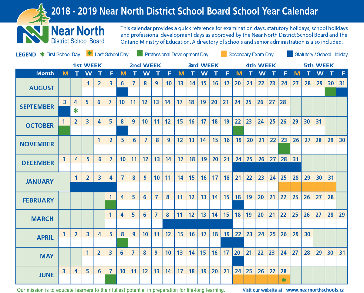 Year Calendar 2018 And 2019 With School Near North District Board