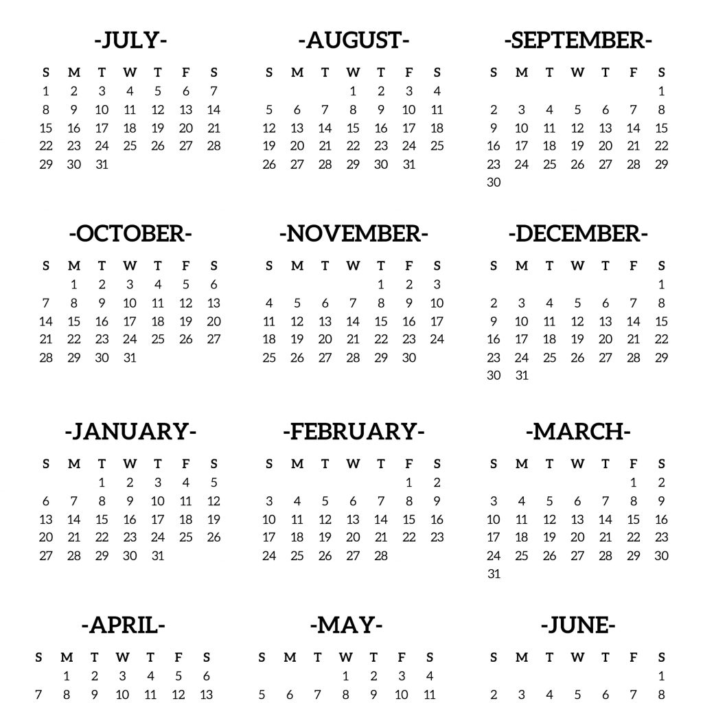 Year Calendar 2018 And 2019 With School Printable Free Template Paper Trail Design