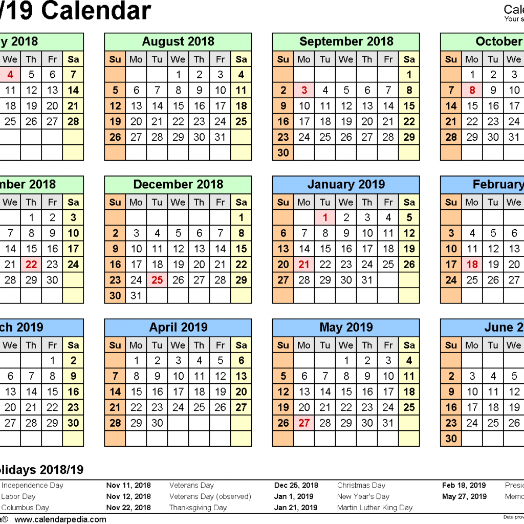 Year Calendar 2018 And 2019 With Split 19 July To June Excel Templates
