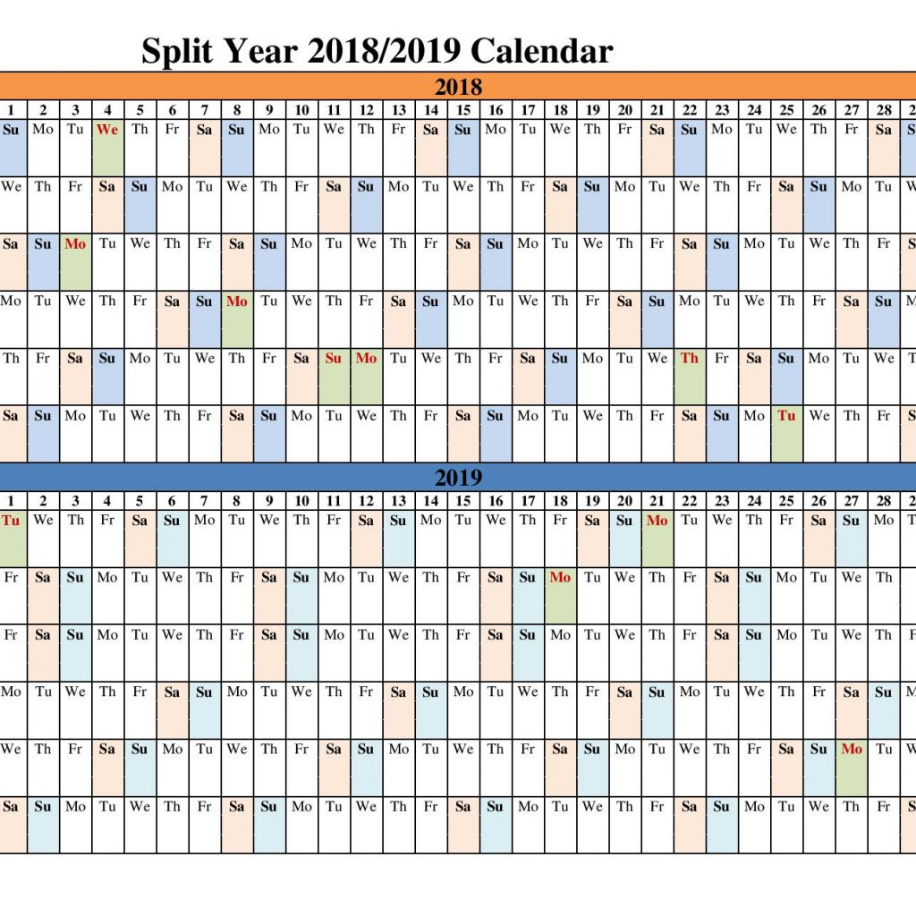 Year Calendar 2018 And 2019 With Split Calendars Blank Templates Office