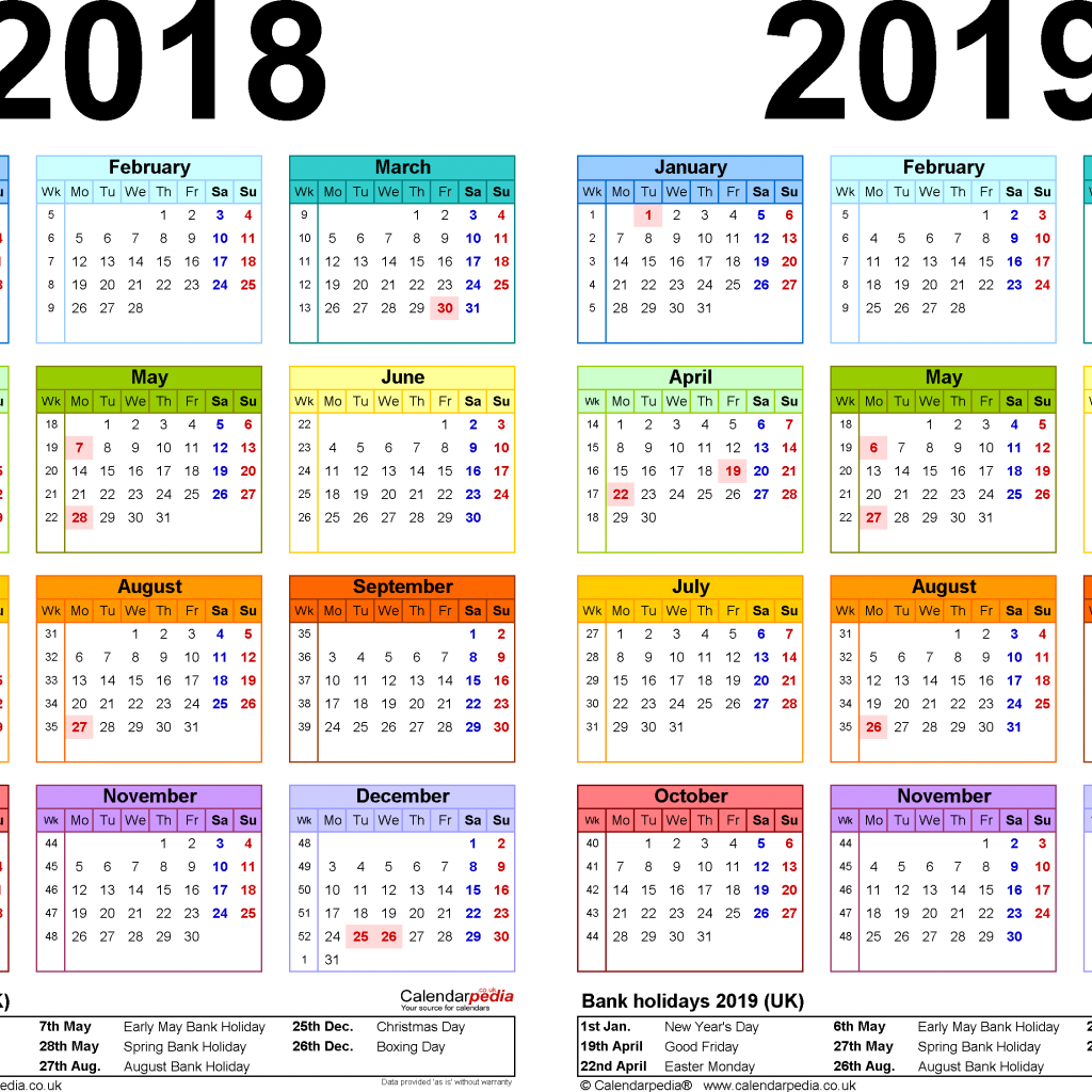 Year Calendar 2018 And 2019 With Two Calendars For UK PDF
