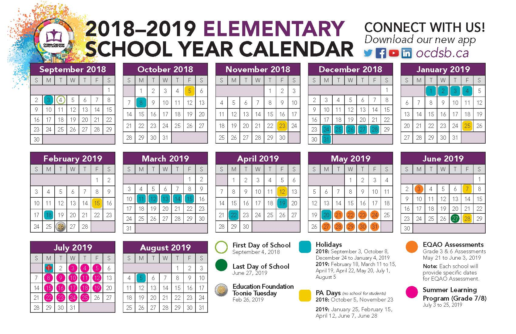 Year Calendar 2018 To 2019 With Ottawa Carleton District School Board