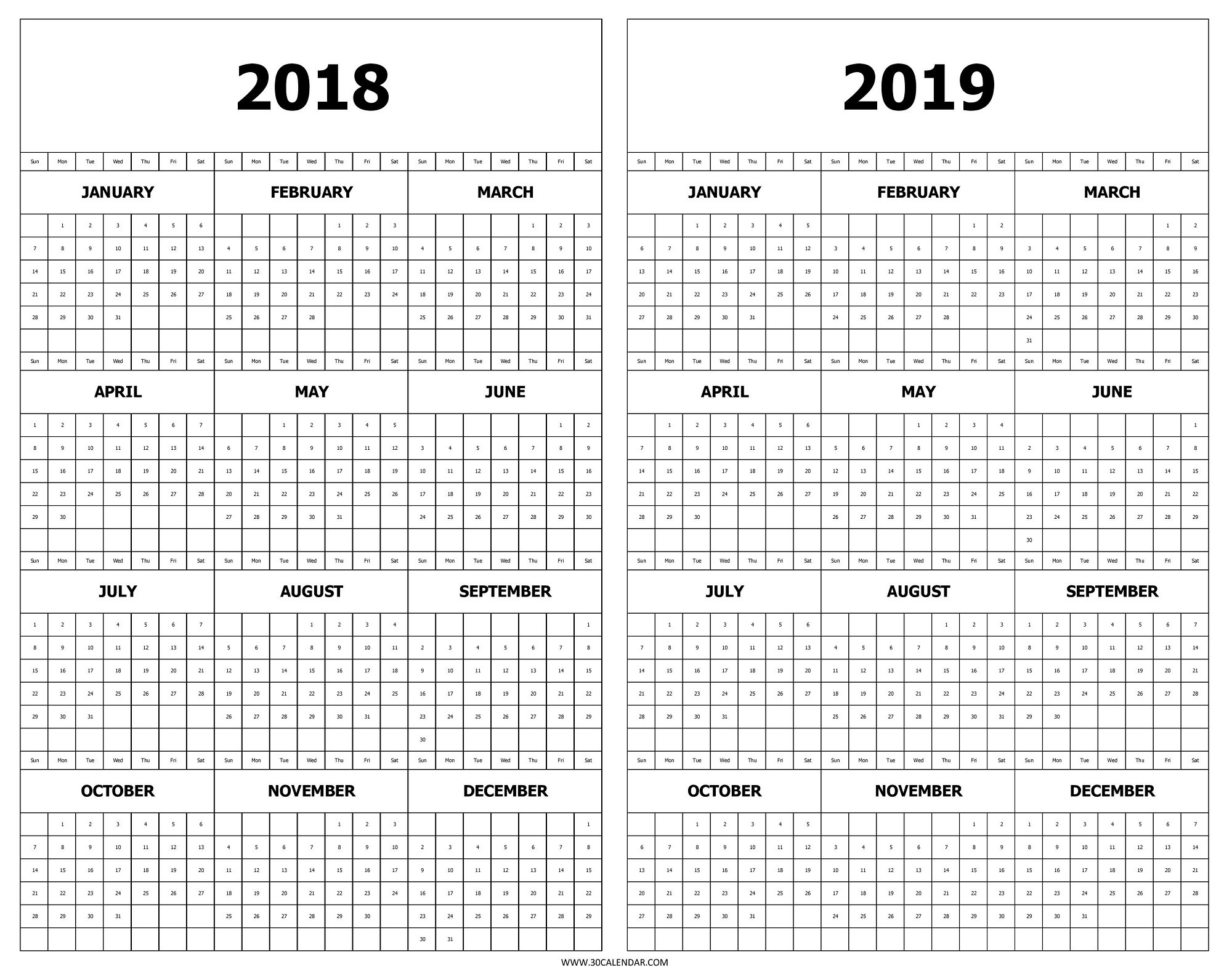 Year Calendar 2018 To 2019 With Printable And Free