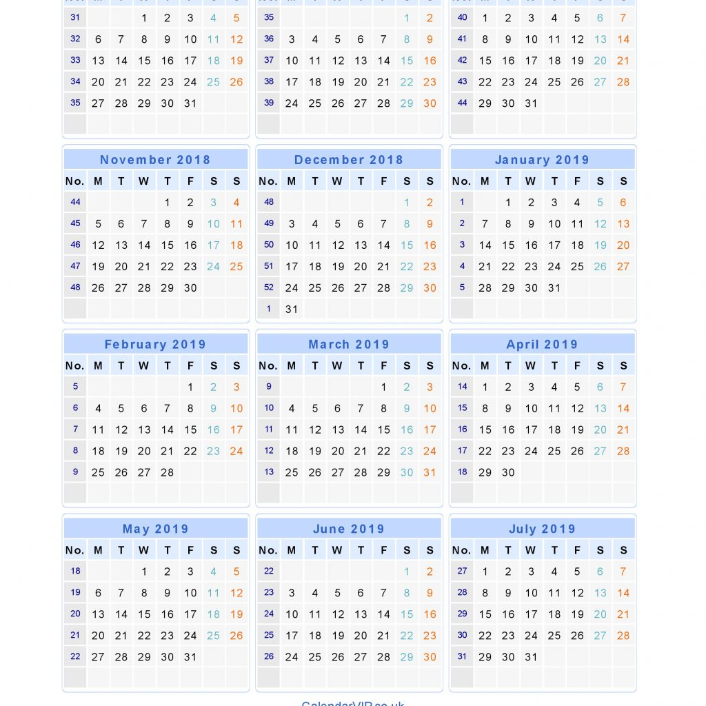 Year Calendar 2018 To 2019 With School Calendars From August July