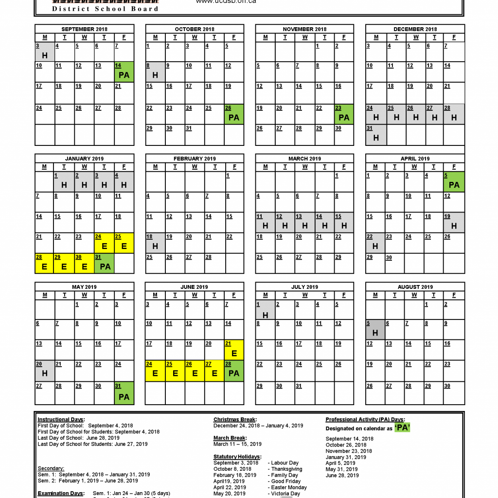 Year Calendar 2018 To 2019 With School Upper Canada District Board