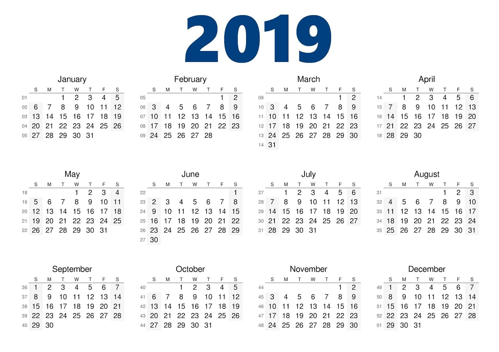 Year Calendar 2019 With Printable Yearly Blank Template August 2018