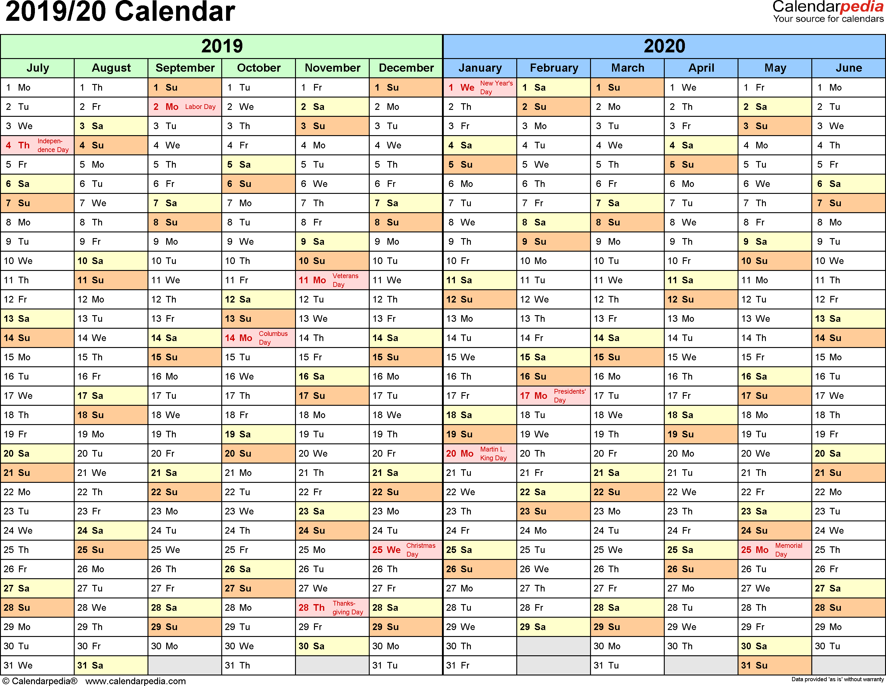 Year Calendar 2019 With Split 20 July To June Excel Templates