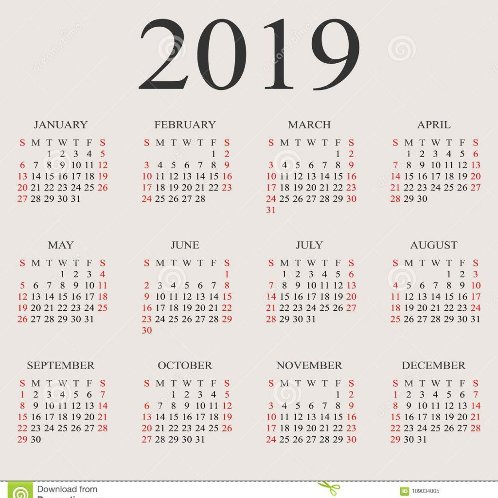 Year Calendar 2019 With Vector Design Template Stock