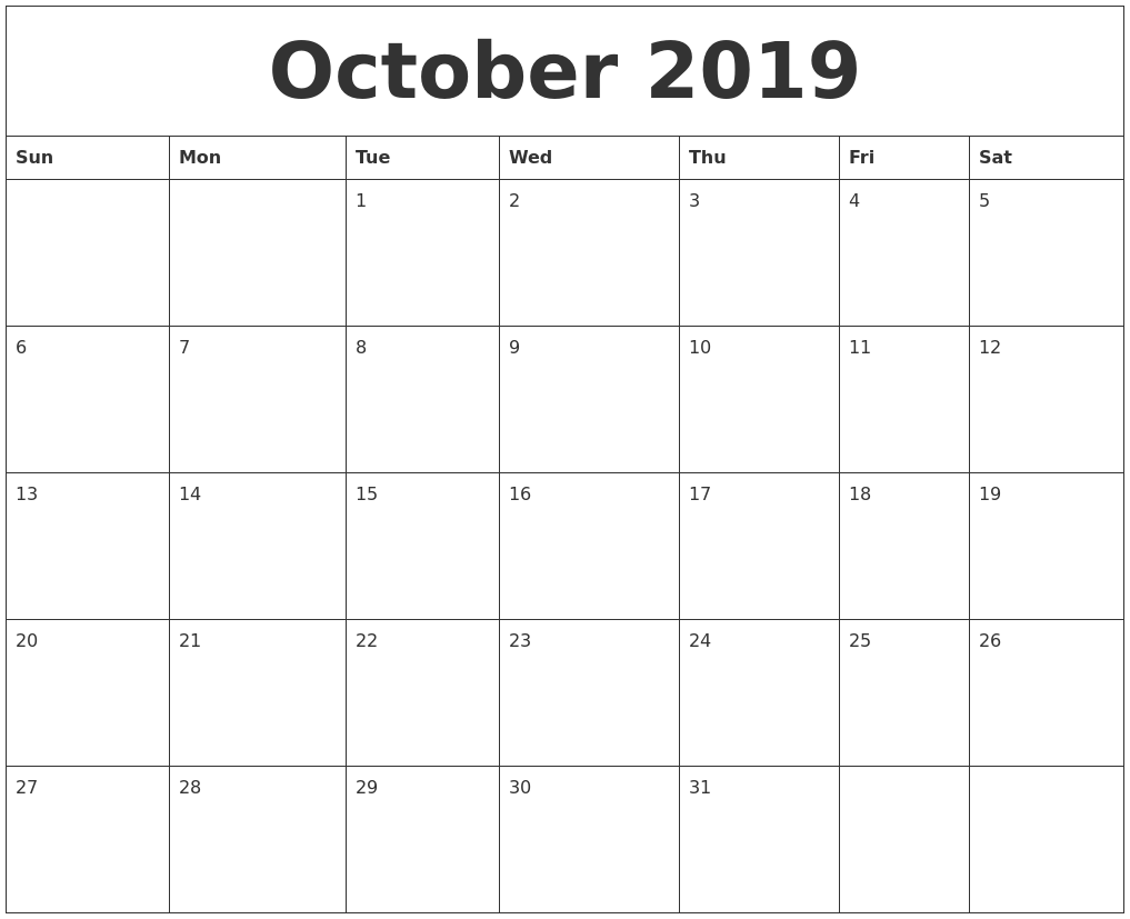 Year Calendar 2019 Word Template With November Printable