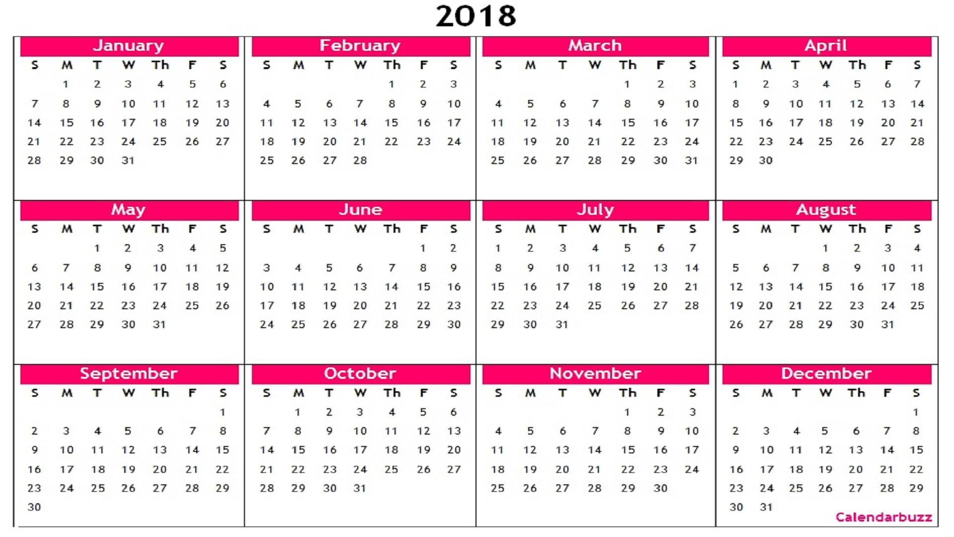 Year Calendar 2019 Word Template With Printable 2018 Yearly Templates