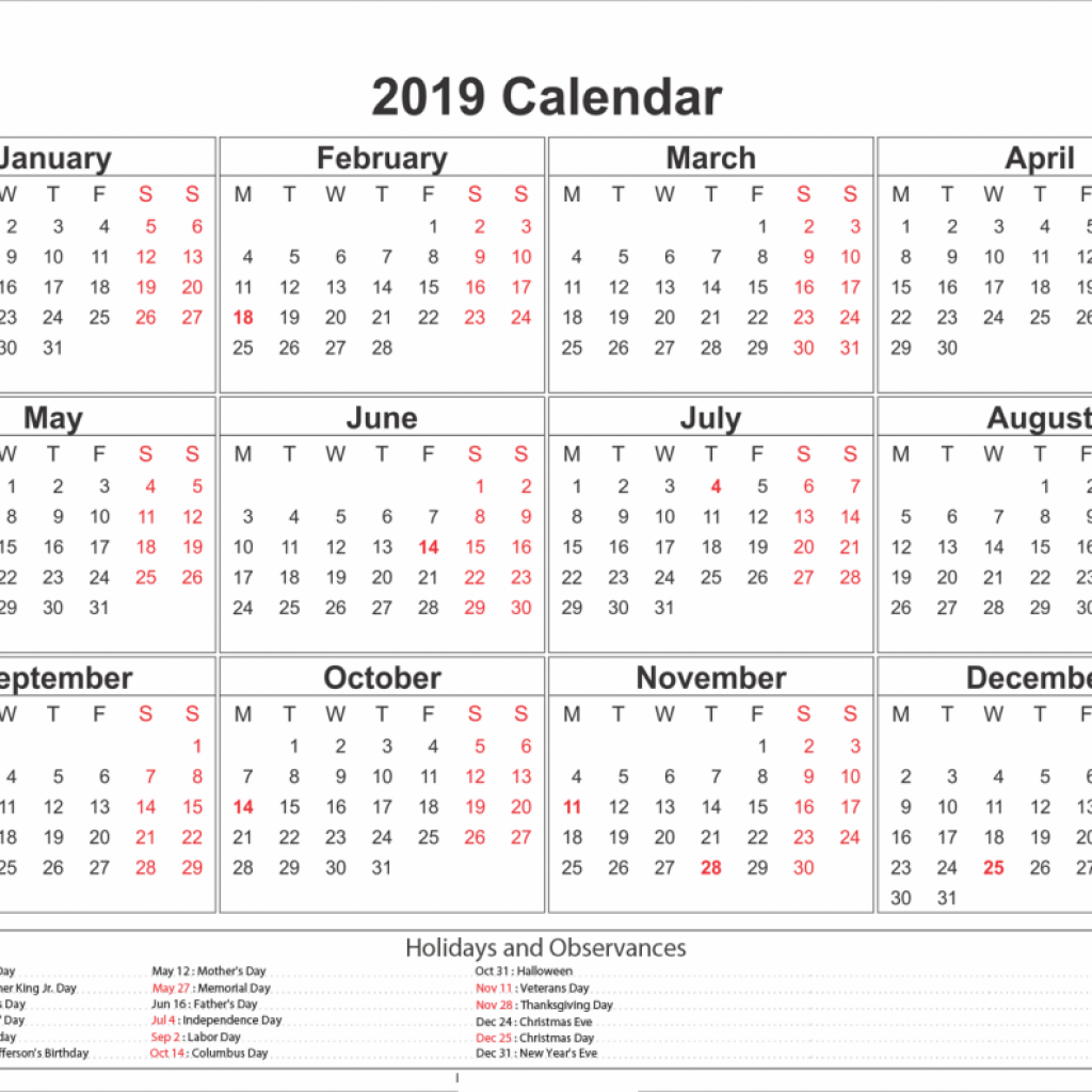 Year Calendar 2019 Word Template With Yearly UAE Dubai Holidays Printable June 2018