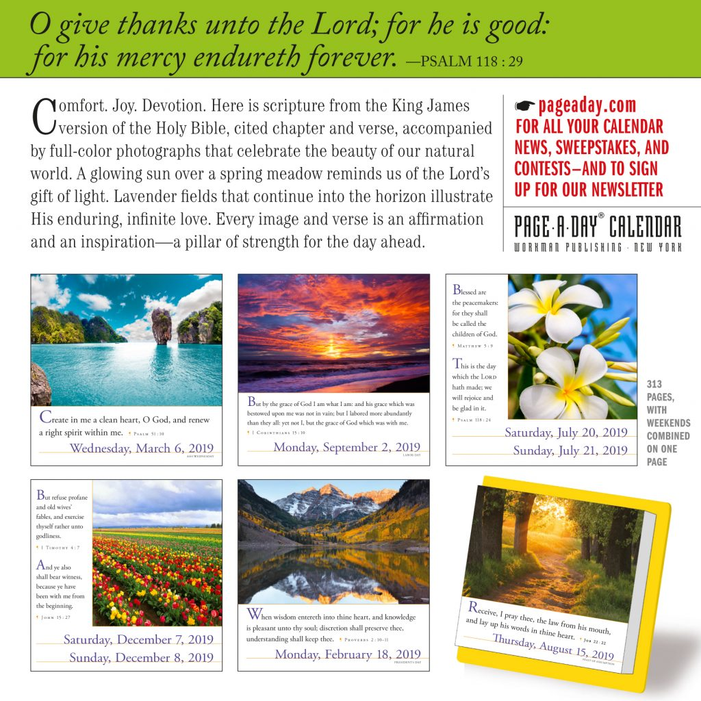 Year Of Grace Calendar 2019 With 365 Bible Verses A Page Day Workman Publishing