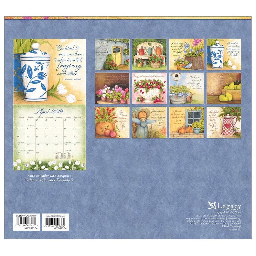 Year Of Grace Calendar 2019 With 9781627808385 Daily Wall Legacy Publishing