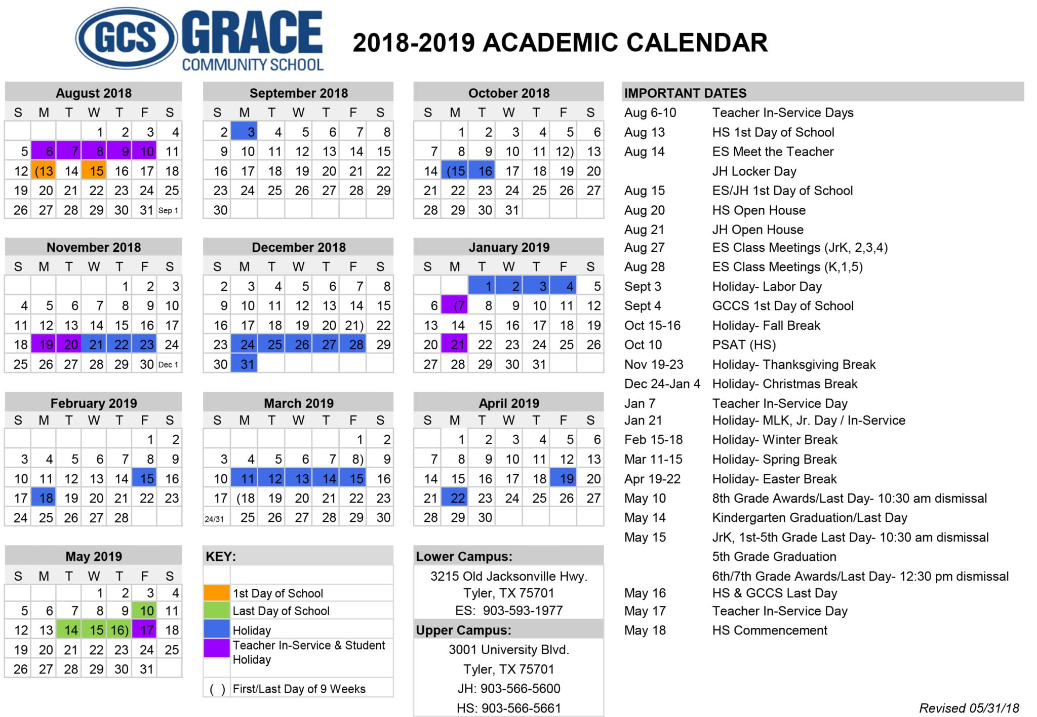 Year Of Grace Calendar 2019 With Community School Tyler TX Christian Private