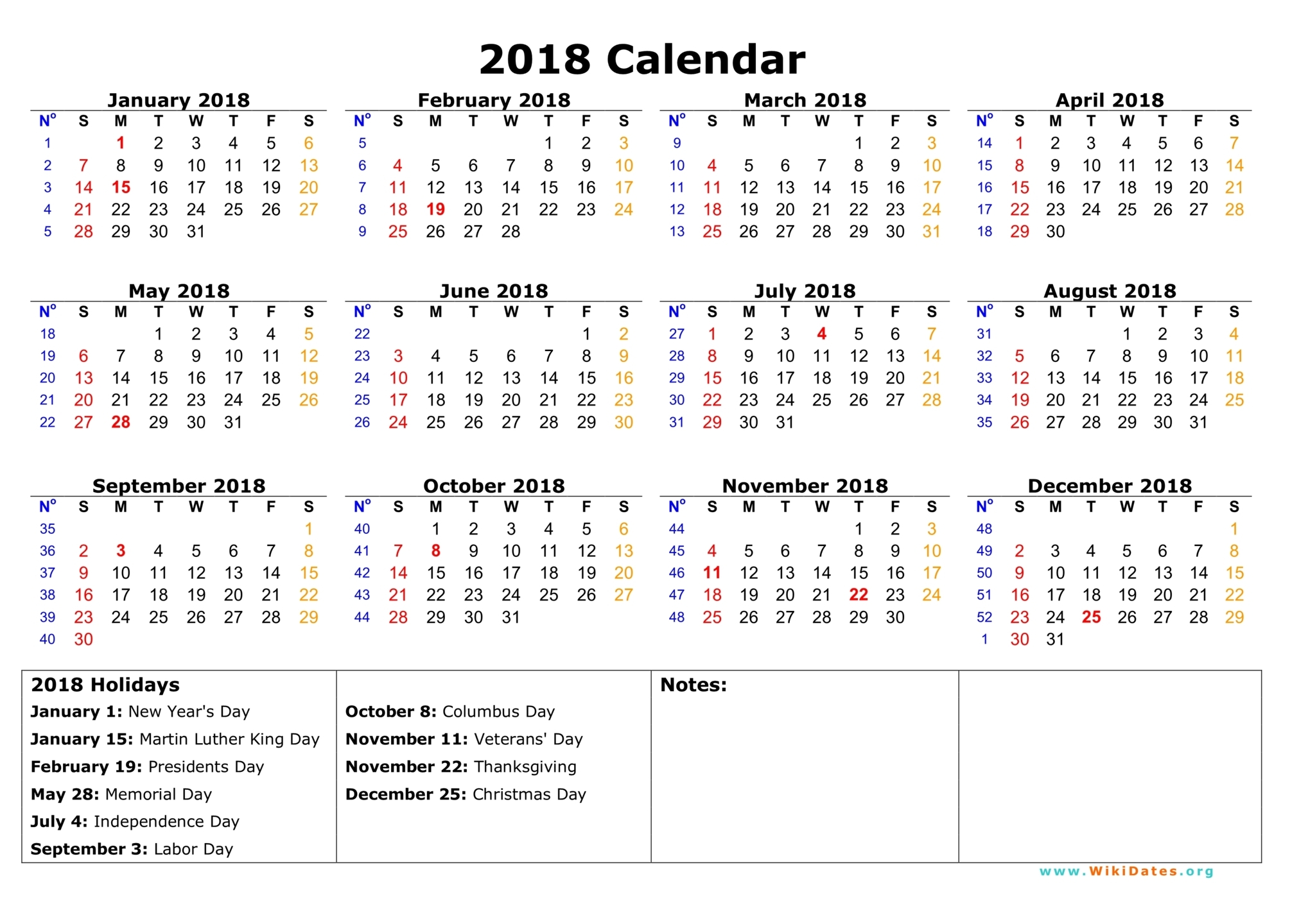 Year To View Calendar 2019 Printable With 2018 WikiDates Org