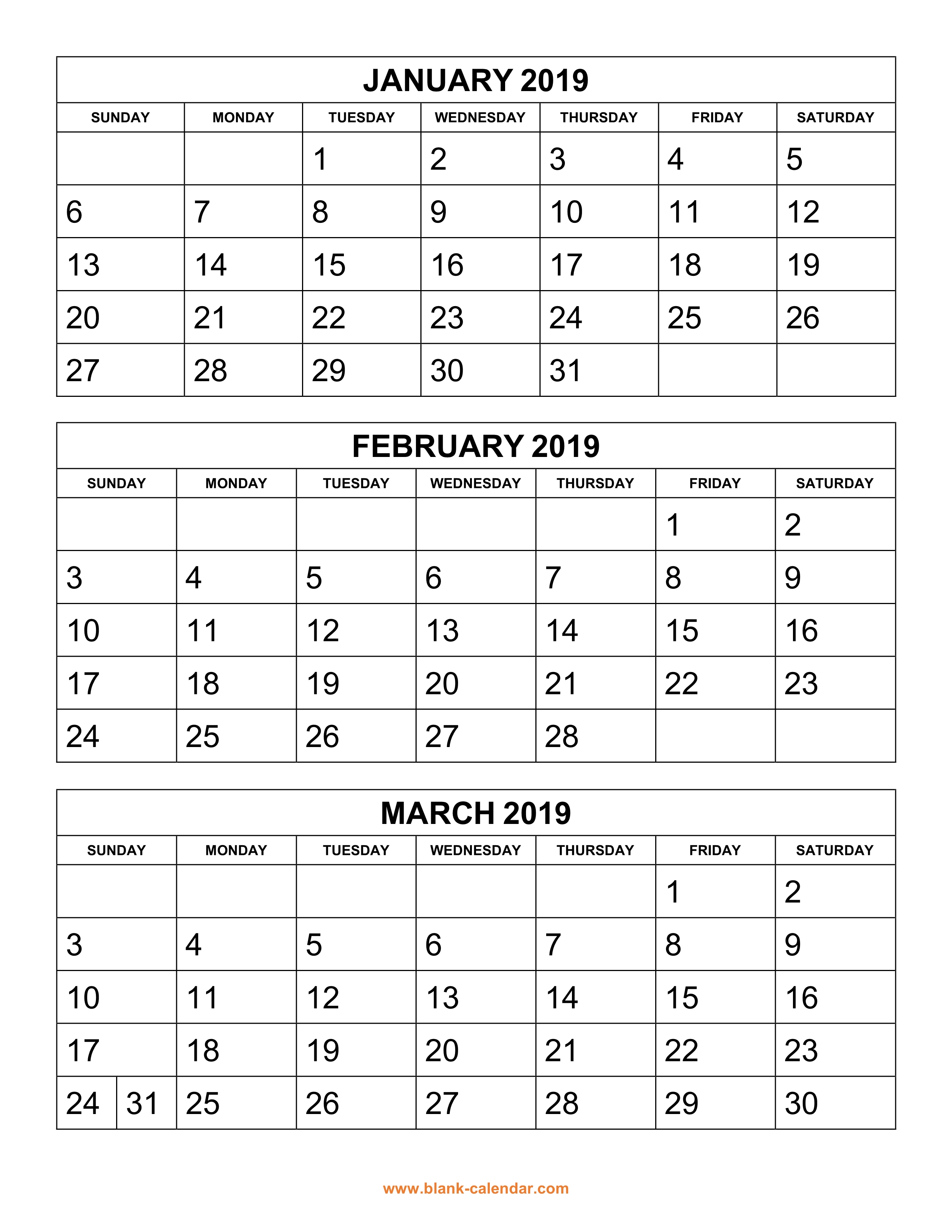 Year To View Calendar 2019 Printable With Free Download 3 Months Per Page 4 Pages
