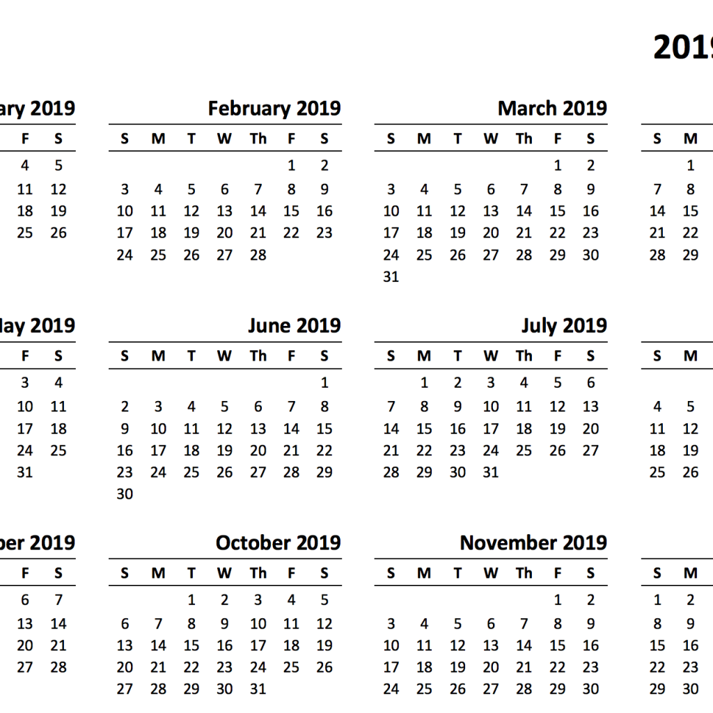 Year To View Calendar 2019 Printable With Templates Online