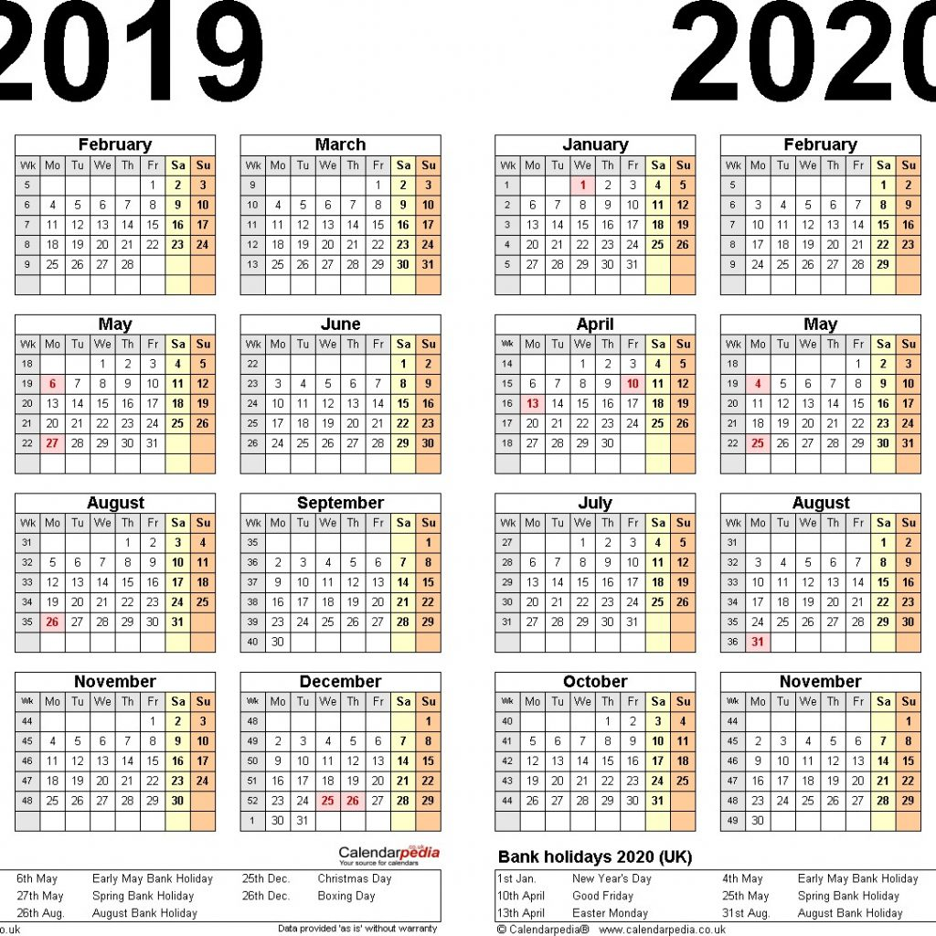Year To View Calendar 2019 Printable With Two Calendars For