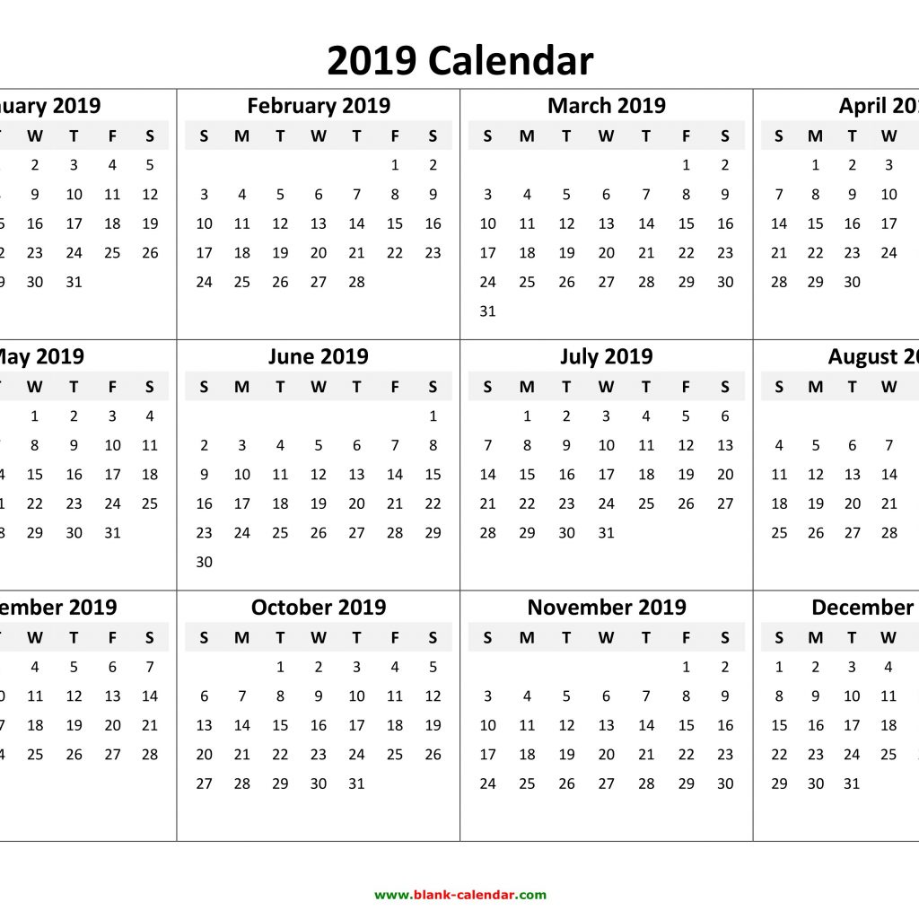 Year To View Calendar 2019 Printable With Yearly