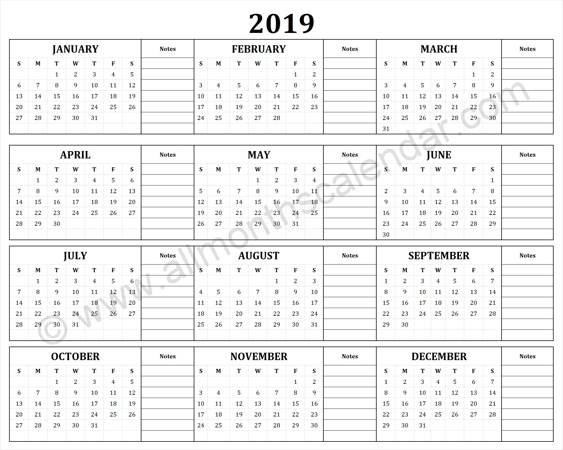 Year To View Calendar 2019 Printable With Yearly 12 Month
