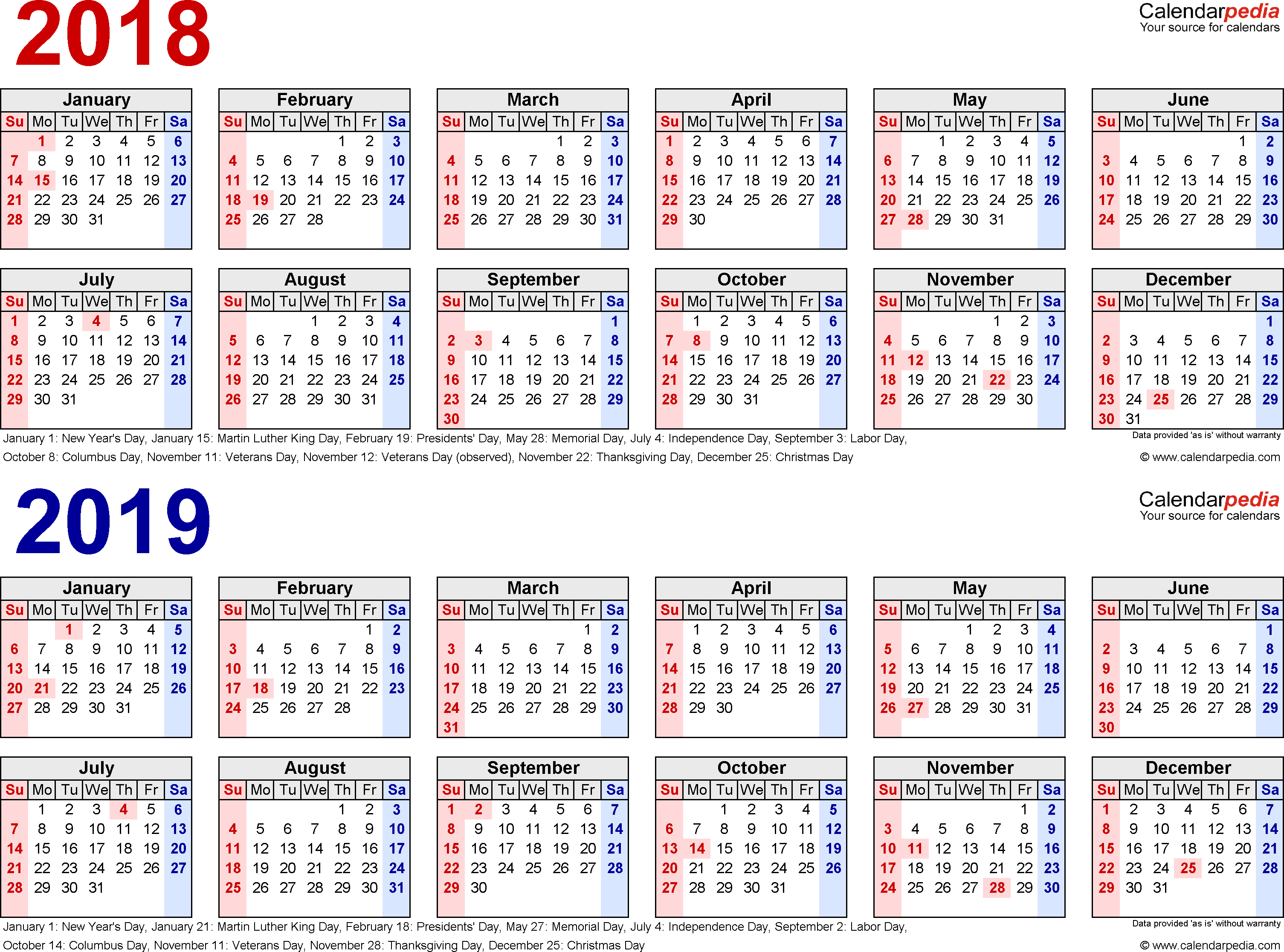 Year To View Calendar 2019 With 2018 Free Printable Two PDF Calendars