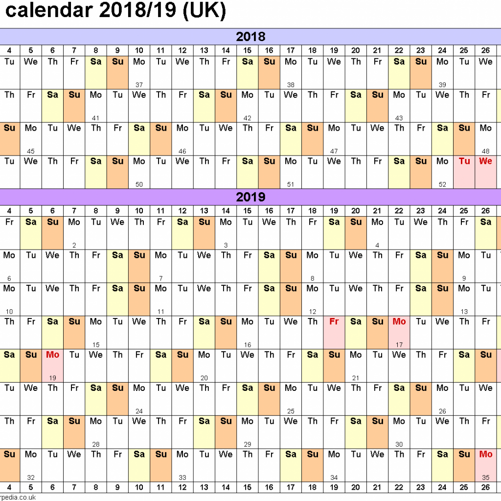Year To View Calendar 2019 With Academic Calendars 2018 As Free Printable Word Templates